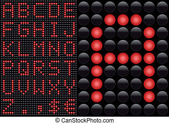 Vector LED - light emitting diode - info panel. Score board style letters.