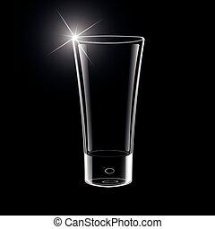 vector, leeg glas, op, black