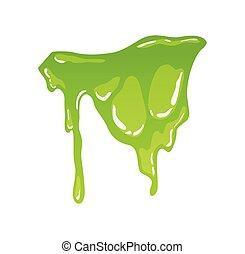 vector, legamoso, formas, verde, mucus., líquido, slime., juego, blotch., decorativo, caricatura, gotas, gota, salpicaduras, aislado, sustancia pegajosa, snot, borders., tóxico, goteo, splodge