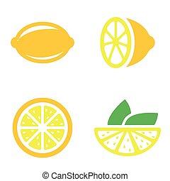Vector lemon icons set.