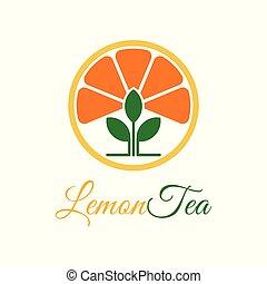 Vector Lemon Tea Leaf Logo template design.