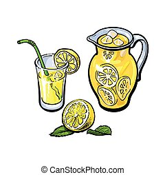 vector lemonade jug, glass of lemon juice, straw