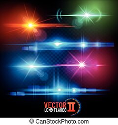 Vector Lens Flare Effects. Lens flares using transparencies. layered vector illustration.