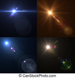 Vector lens flares. Set, collection - Vector illustration...