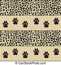 vector leopard background with paws - vector leopard...