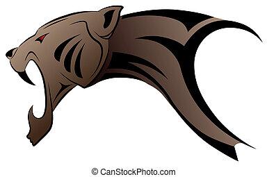 Vector leopard, tribal tattoo