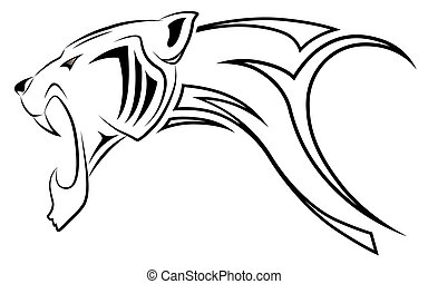 Vector leopard, tribal tattoo - Vector leopard executed in ...