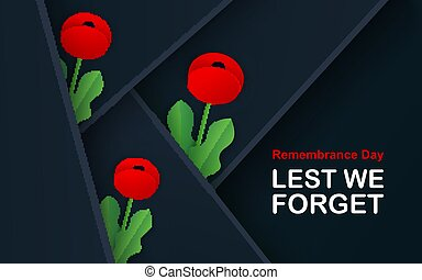 Vector Lest We Forget. Craft Red Poppies Field Remembrance ...