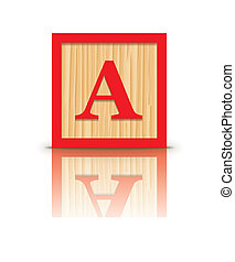 Vector letter A wooden block