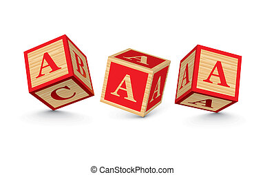 Vector letter A wooden blocks