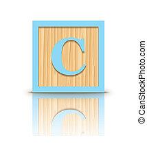 Vector letter C wooden block