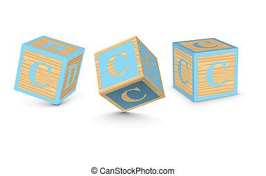 Vector letter C wooden blocks