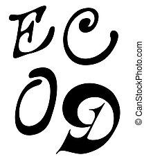 vector letter E, C, O, D on white background