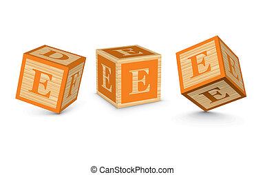 Vector letter E wooden blocks