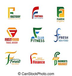 Vector letter F icons for corporate identity