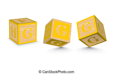 Vector letter G wooden blocks