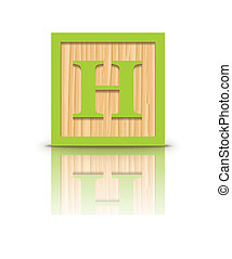 Vector letter H wooden block