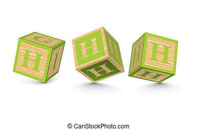 Vector letter H wooden blocks