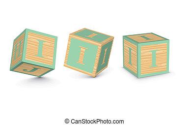 Vector letter I wooden blocks