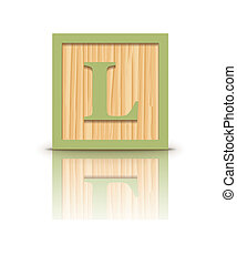Vector letter L wooden block