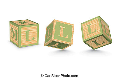 Vector letter L wooden blocks