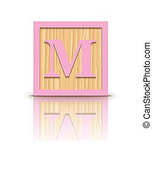 Vector letter M wooden block