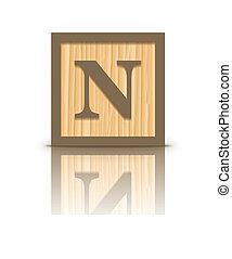 Vector letter N wooden block