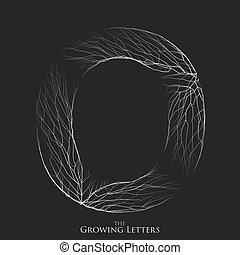 Vector letter O of branch or cracked alphabet. O symbol consisting of growing white lines. Fractured letters. Lighting silhouet of capital letters. Abstract font.