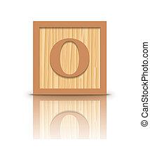 Vector letter O wooden block