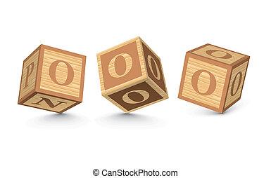 Vector letter O wooden blocks