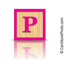 Vector letter P wooden block