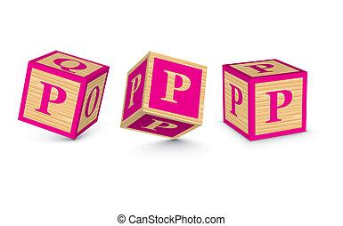 Vector letter P wooden blocks