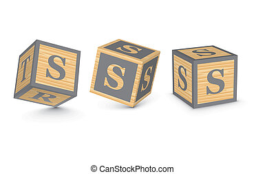 Vector letter S wooden blocks