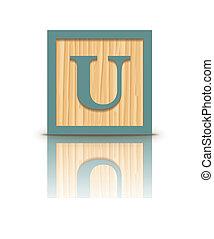 Vector letter U wooden block