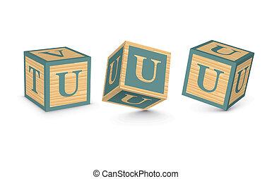 Vector letter U wooden blocks