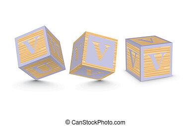 Vector letter V wooden blocks