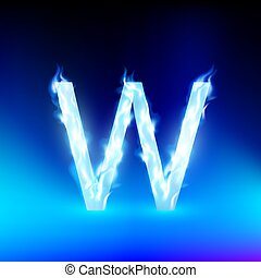vector letter with blue fire