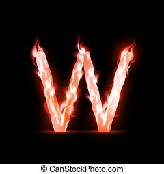 vector letter with red fire