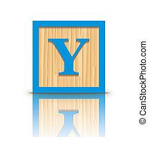 Vector letter Y wooden block - Letter Y wooden alphabet...