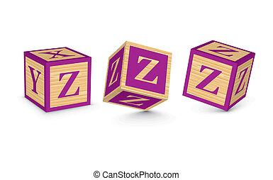 Vector letter Z wooden blocks