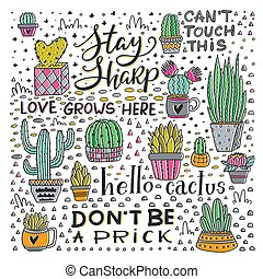 Vector Lettering and Cactus collection design art - Vector ...