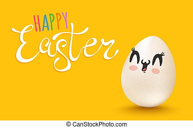 Vector banner with lettering Happy Easter and egg with kawaii face.
