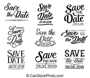 Vector lettering. Save the Date and wedding