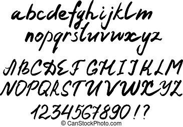 vector letters. handwritten alphabet. brush lettering
