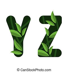 Vector letters Y Z of the alphabet. Leaf design.