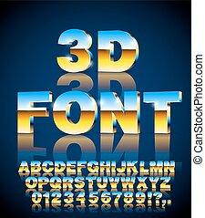 vector, lettertype, 3d