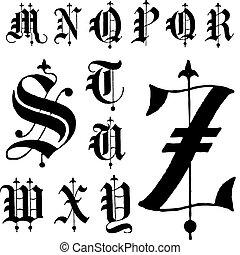vector, lettertype, gotisch, middeleeuws, m-z