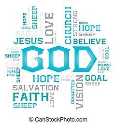 vector, lettertype, ontwerp, woord, wolk, creatief, handel concept, god, jesus, hoop, liefde, doel, schaap, kerk, op wit, achtergrond