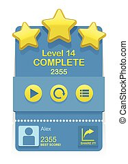 Vector Level Complete design element for game interface