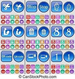 vector, lezende , buttons., set, groenteblik, silhouette, one., draagbare computer, groot, stoppen, qr-code, schaar, multi-colored, acht, afval